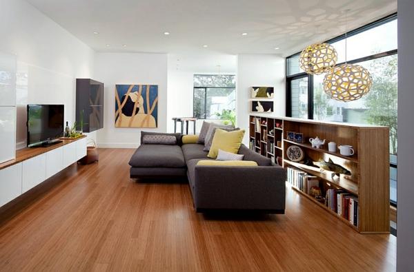Wohnzimmer Farbgestaltung warm ambiente holzlack glanz