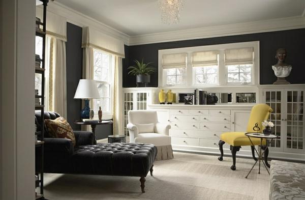 schwarz wohnzimmer:Wohnzimmer Farbgestaltung – Grau und Gelb als Farbkombination