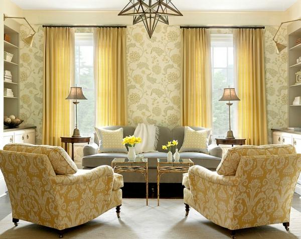 Wohnzimmer farbgestaltung grau und gelb als farbkombination - Wohnzimmer muster ...