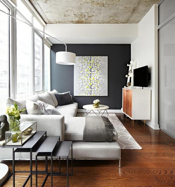 Wohnzimmer Farbgestaltung - Grau Und Gelb Als Farbkombination