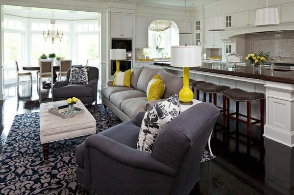 wohnzimmer farbgestaltung - grau und gelb als farbkombination - Wohnzimmer Schwarz Grau