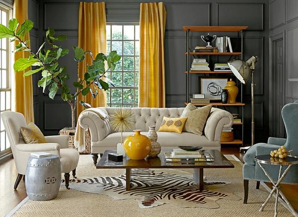Wohnzimmer Zimmerpflanzen Zebramuster Farbgestaltung Sofa Pflanzen Zimmer