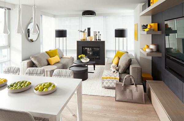 Wohnzimmer Farbgestaltung Esszimmer Stehlampen Schwarz Lampenschirm