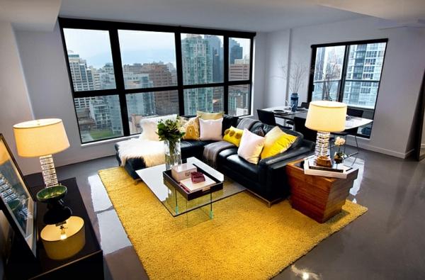wohnzimmer teppich grau:Wohnzimmer Farbgestaltung stadtwohnung teppich gelb stehlampe