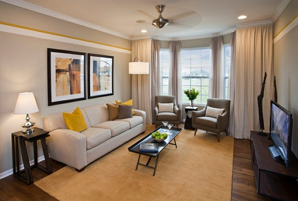 wohnzimmer farbgestaltung grau und gelb als farbkombination. Black Bedroom Furniture Sets. Home Design Ideas