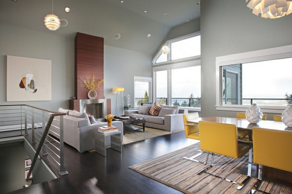 Farbideen Wohnzimmer Wände Grau Streichen Braune Möbel Blaue Akzente ...