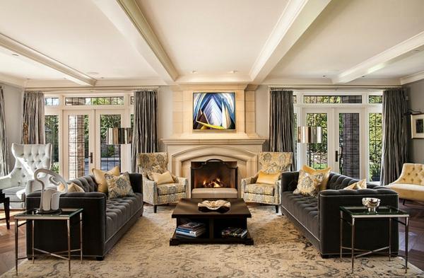 wohnzimmer grau gelb:Wohnzimmer Farbgestaltung – Grau und Gelb als Farbkombination