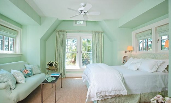 akzentwand streichen wandfarbe mintgrün schlafzimmer farben