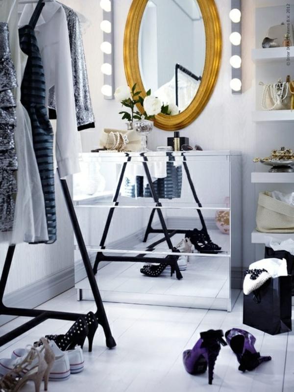 ankleidezimmer möbel begehbarer kleiderschrank planen schuhe kleiderständer