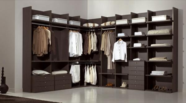 ankleidezimmer planen ideen möbel offener kleiderschrank begehbarer eckkleiderschrank