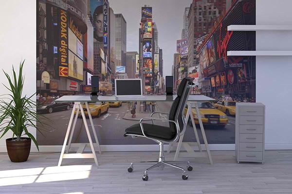 arbeitszimmer gestalten heimbüro wandgestaltung fototapete new york