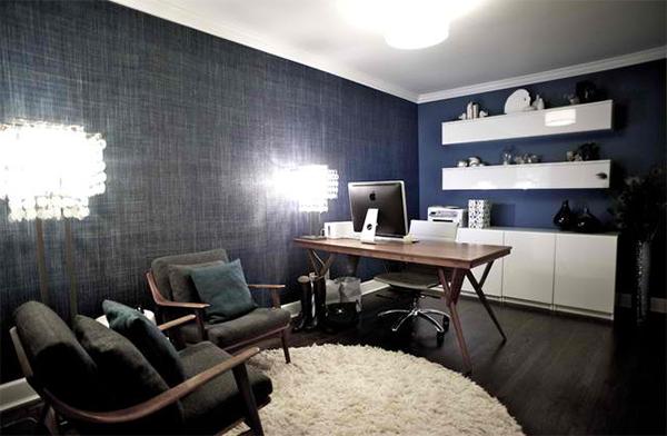 arbeitszimmer gestalten heimbüro wandgestaltung wandtapeten jeans muster