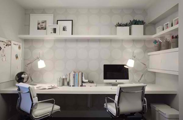 arbeitszimmer gestalten heimbüro wandtapeten muster pünktchenmuster weiß elegant schlicht