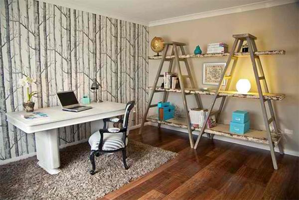 Arbeitszimmer wandgestaltung  Wandtapeten Muster - 20 tolle Wandgestaltung Ideen fürs Heimbüro