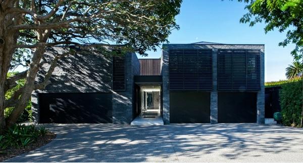 architektur neuseeland architektenhaus vorgarten gestalten mit einfahrt