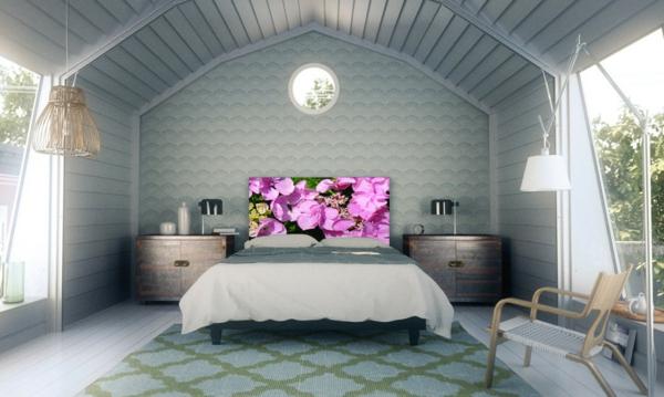schlafzimmer einrichten bett kopfteil blumenmuster