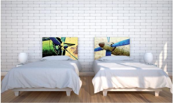 schlafzimmer einrichten bett kopfteil flugzeug muster