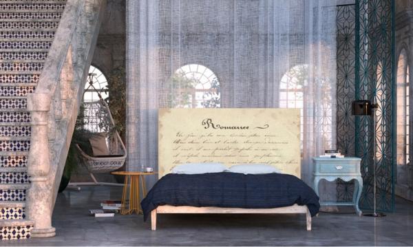 schlafzimmer einrichten bett kopfteil poesie