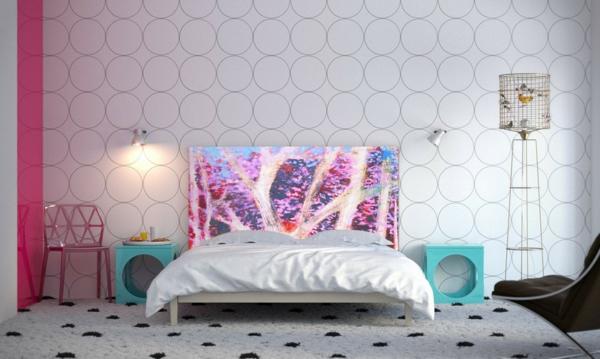 schlafzimmer einrichten bett kopfteil wand punktmuster