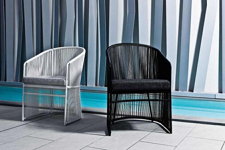 außenmöbel designer möbel outdoor lounge möbel sessel schwarz weiß gartenmöbel