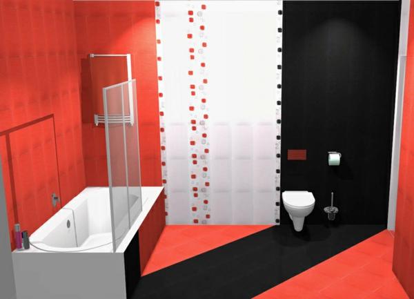 badewanne einfliesen moderne badezimmer wandfliesen bodenfliesen schwarz weiß rot