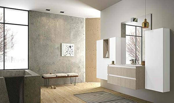 badezimmer betonoptik holzboden badezimmer möbel wandspiegel schränke