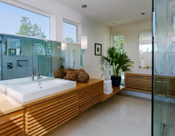 badezimmer design badspiegel badmöbel holz