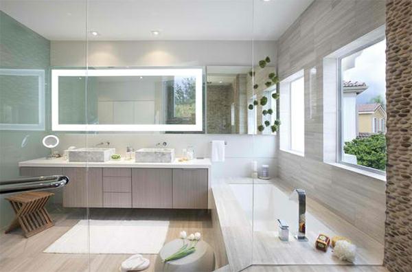 badezimmer badspiegel badmöbel sichtschutz glas