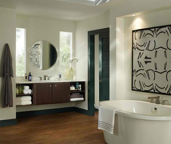 Badezimmer Design Badspiegel Waschschrank Freistehende Badewanne