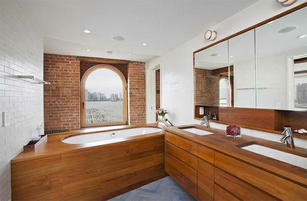 badezimmer rustikal badspiegel badmöbel ziegelwand