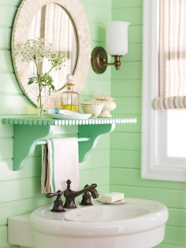 badezimmer einrichten farbideen wandpaneele streichen mintgrün wandfarbe