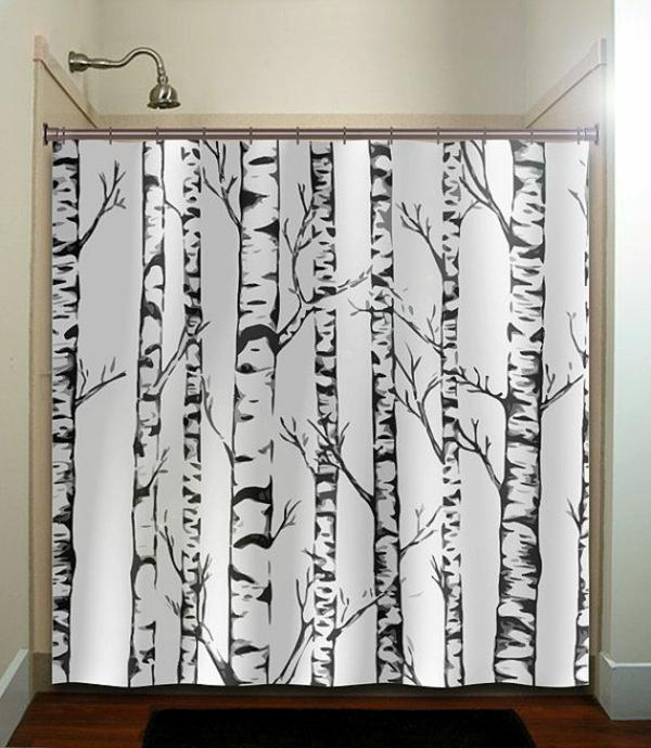 dekorationsvorschläge gardinen  duschvorhänge birken