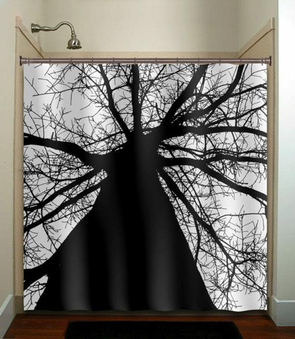 dekorationsvorschläge gardinen schwarzer baum