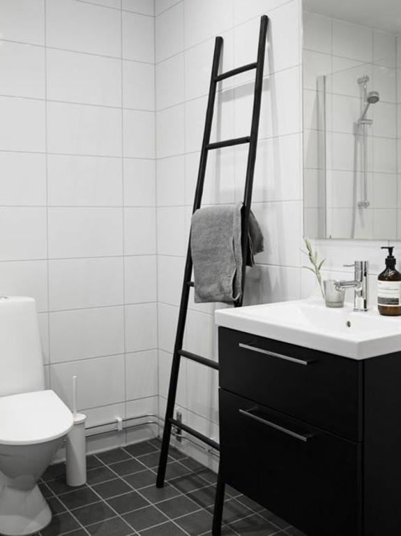 badezimmerideen badmöbel waschbecken unterschrank holzleiter handtuchleiter