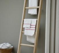 Holz Handtuchleiter sowohl im rustikalen, als auch im modernen Badezimmer