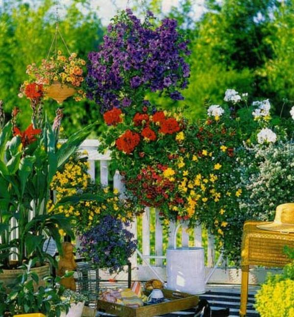 balkon bepflanzen blumenkasten üppig