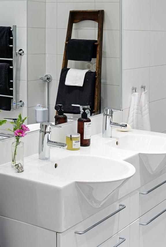 bedezimmer möbel handtuchleiter aus holz badezimmer einrichtungsideen