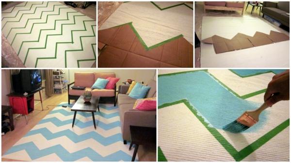 diy teppiche und fu matten bunt wohnen. Black Bedroom Furniture Sets. Home Design Ideas
