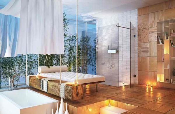 Bodengleiche Dusche Neben Badewanne : bodengleiche dusche holzfliesen massagebett moderne badezimmer moma