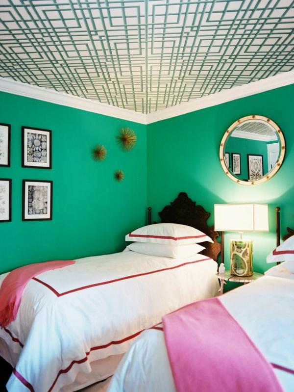 Jugendzimmer Mädchen Dekorative Decke Grüne Farben