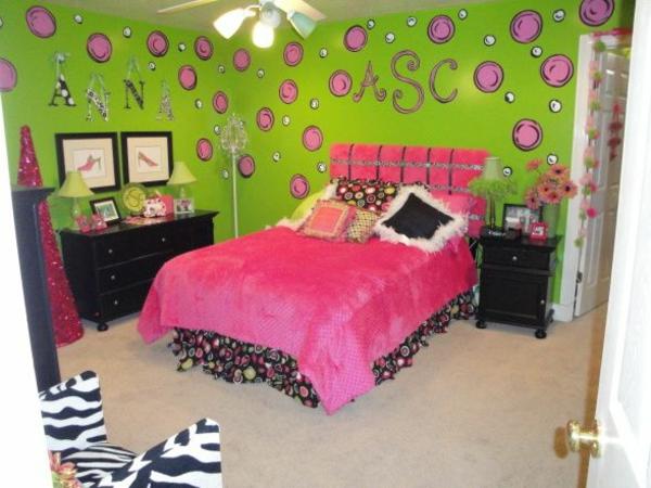 jugendzimmer mädchen farben rosa und grün