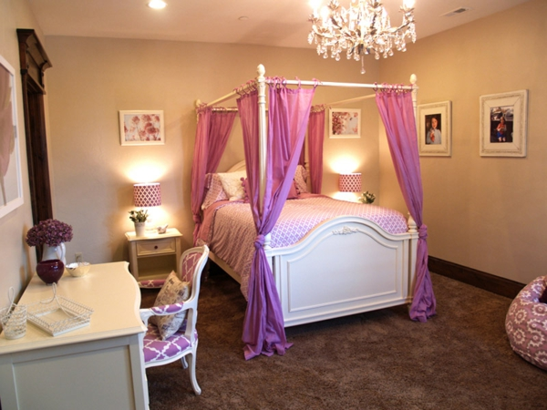 jugendzimmer mädchen himmelbett rosa