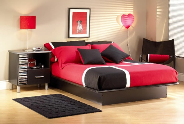 jugendzimmer mädchen rot und schwarz