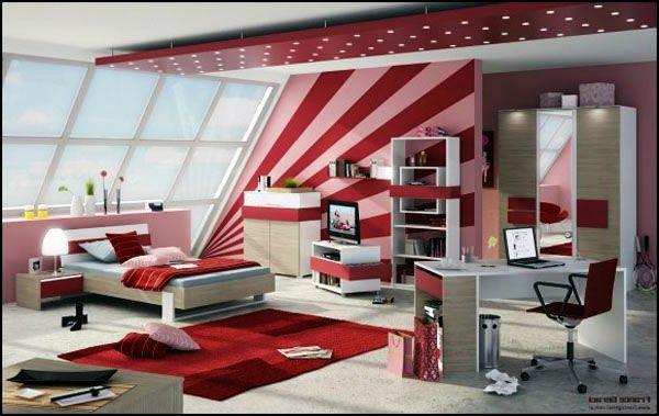 jugendzimmer gestalten designideen rote streifen