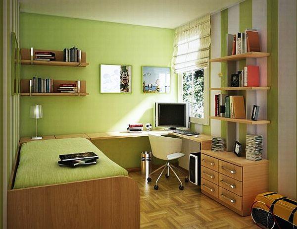 jugendzimmergestaltung modern bett grüne wände