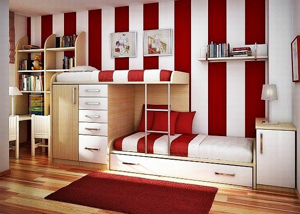 jugendzimmergestaltung modern gestreifte wand roter teppich