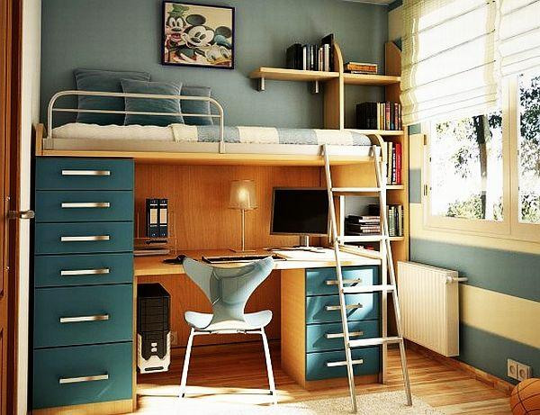 jugendzimmergestaltung modern stockbett schreibtisch treppe