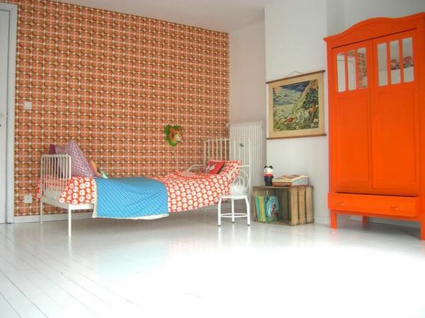 tapeten kinderzimmer gestalten dekorative motive orange
