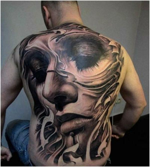 coole tattoos 3d frauen gesicht