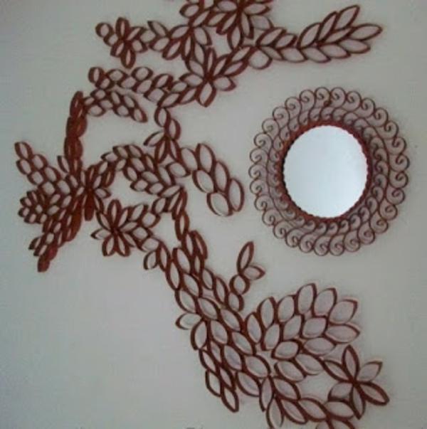 deko selber machen recyceln materialien wandspiegel